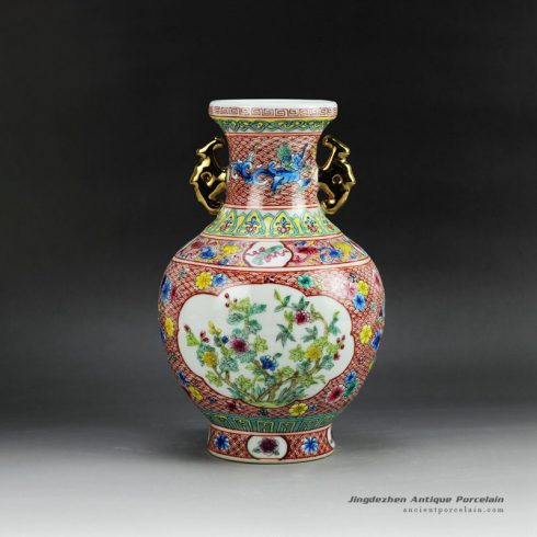 RZGQ01_Hand paint Qing Dynasty reproduction enamel ceramic centerpiece vase with two gold plated handle