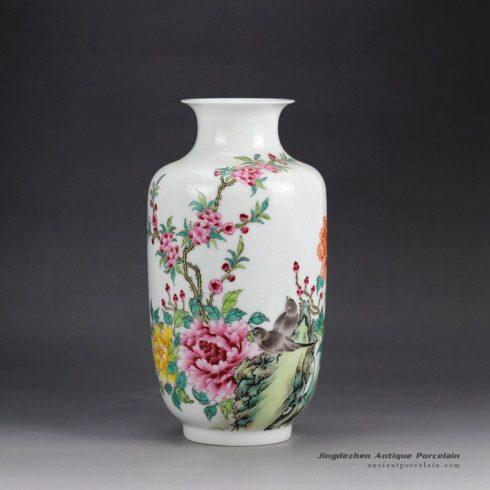 RZGR01_Wax gourd shape hand paint famille rose big porcelain flower vase