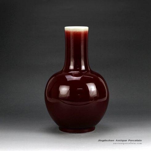 RZGT01_Globular shape ox-blood glazed porcelain centerpiece vase