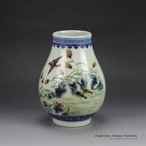 RZGU01_hand paint famille rose wild goose pattern barrel shape porcelain vase