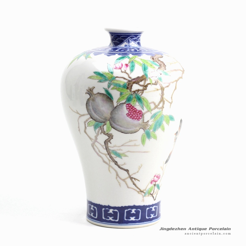 RZGU02_China art hand paint pomegranate pattern porcelain flower vase