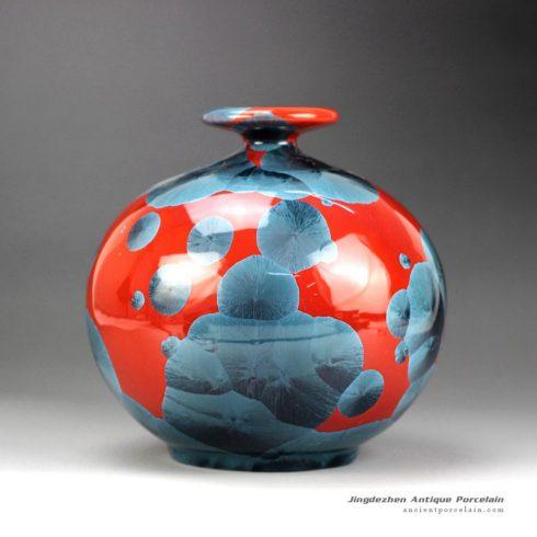 RZGW01-A_Photochromic crystaline glaze round abdomen red ceramic vase