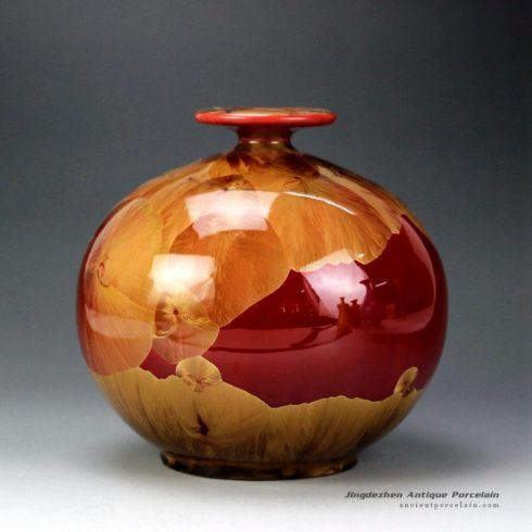 RZGW01-C_Flambe photochromic crystaline glaze glacier style ceramic flower vase
