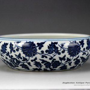 RZGX01_Oriental interlock branch lotus mark blue and white small clay bowl