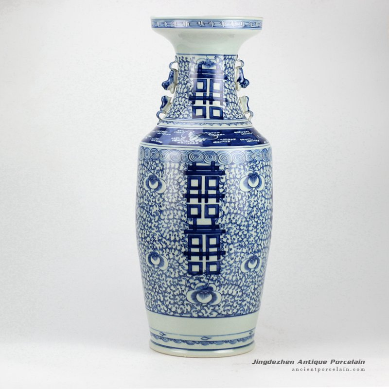 RZGZ01_Double happy hand paint blue and white Chinese traditional centerpiece vase with handles