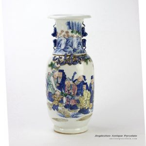 RZHD05_Delicate Chinese painting ancient Chinese artists pattern ceramic vase with lion handle