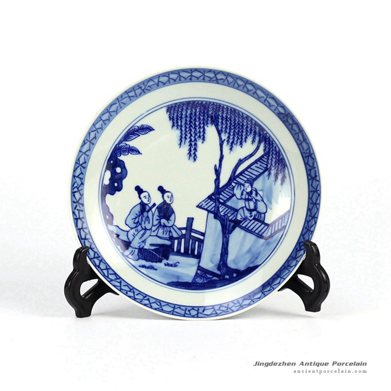 RZHG01-A_Hand painted blue and white ceramic decorative disk