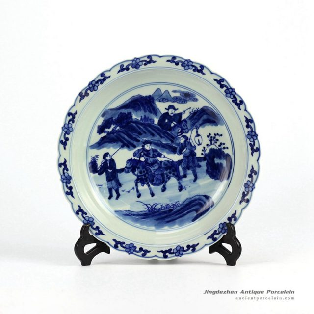 RZHG04-A_Hand painted blue and white lacy shaped edge porcelain dinner plate