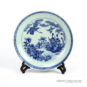 RZHG04-C_Hand painted blue and white phoenix and Chinese ancient ladies pattern round ceramic dinnerware