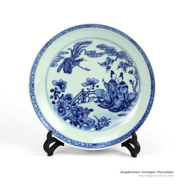RZHG04-C_Hand painted blue and white phoenix and Chinese ancient ladies pattern round ceramic dinnerware