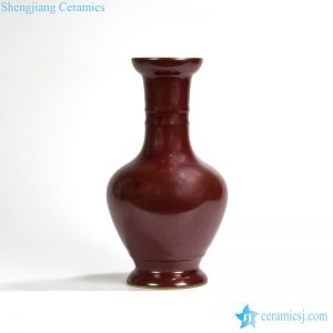 RYPM35 Jingdezhen red glaze porcelain Plain color unique shape antique ceramic flower vase