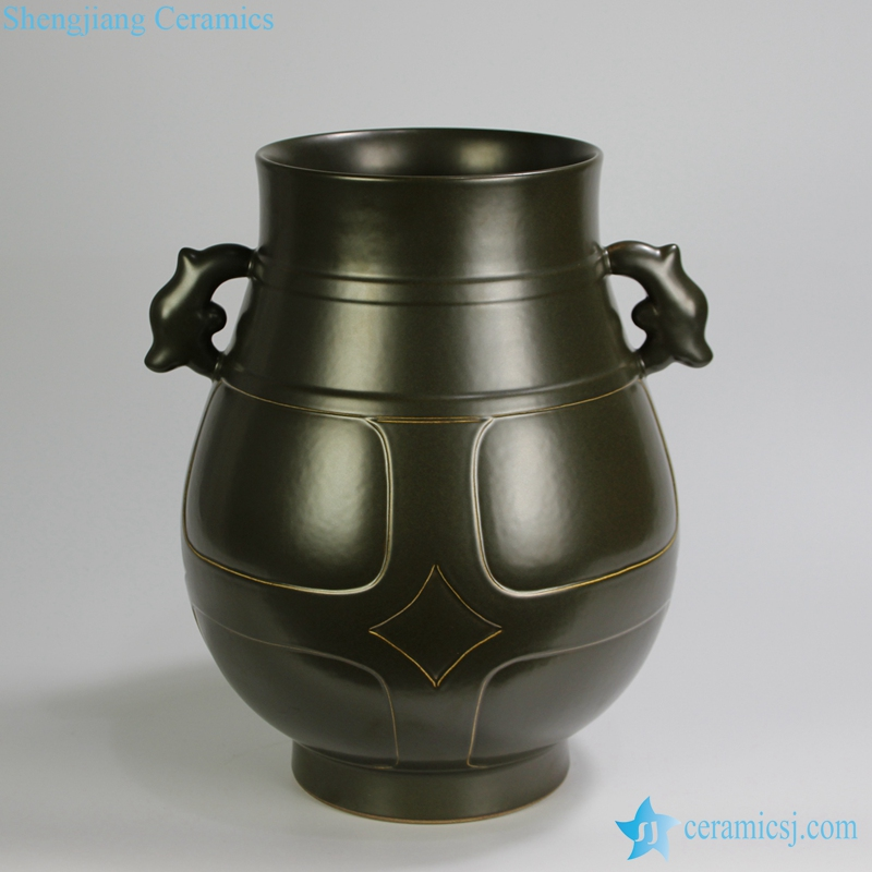 RYPM41 Jingdezhen Green ceramic vase design with two handles
