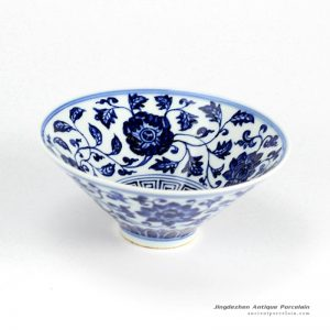 RZHL02-B_Funnel shaped wide open mouth hand paint floral pattern porcelain beautiful ceramic bowls