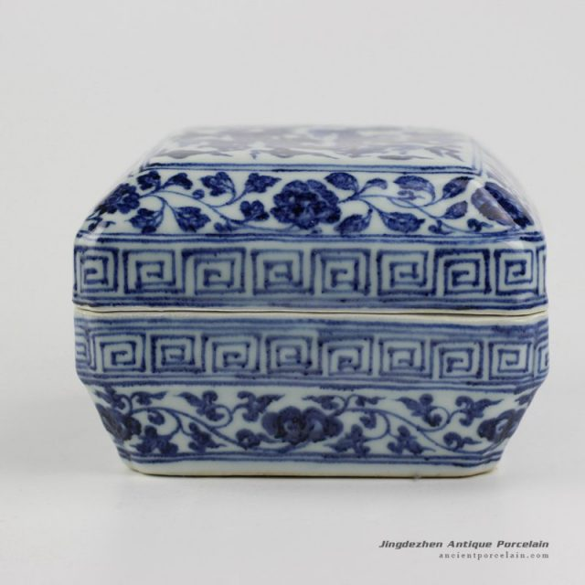 RZHL05-B_antique style blue and white Chinese dragon totem pattern ceramic ink pad