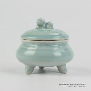 RZHL15-B_Elegant celadon green glaze porcelain tripod high quality censer thurible