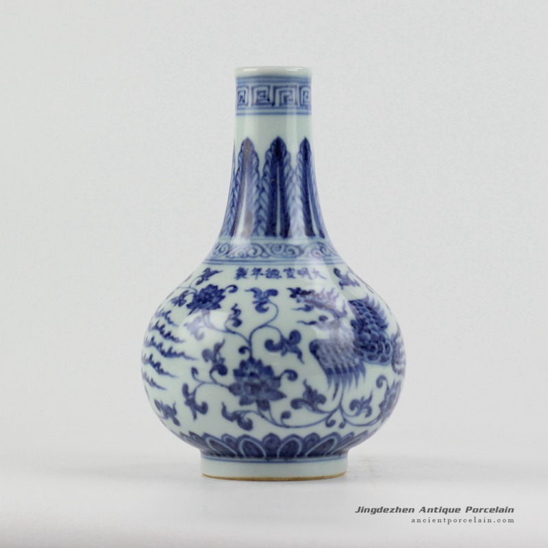 Rzhl17ming Dynasty Reproduction Blue And White Hand Paint Phoenix