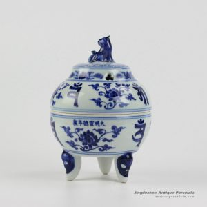 RZHL18-A_Foo dog lid elegant blue and white porcelain fragrance oil burner