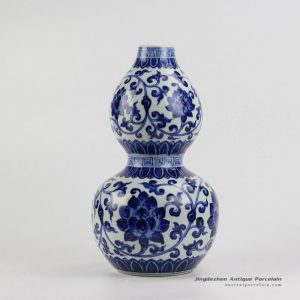 RZHL20_Bottle gourd shape blue and white hand paint lotus ceramic vase