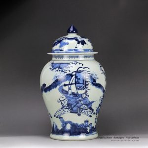 RZHM01-B_Hand paint blue white Chinese ancient the three Kingdom war pattern ceramic centerpiece jar