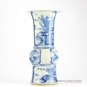 RZHQ01_Blue and white hand paint Chinese rural pattern ceramic centerpiece vase