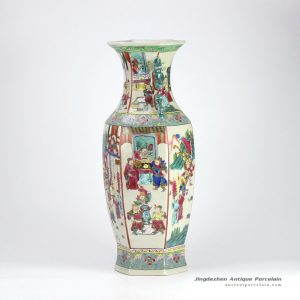 RZIH02_Reproduction hand paint Chinese ancient officialdom pattern hexagonal porcelain vase