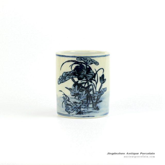 RZIQ01-B Reproduction ancient style hand paint under glaze blue lotus crane pattern ceramic brush holder