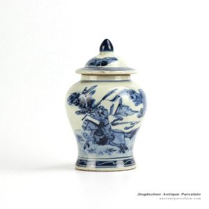 RZIQ02_old Antique old style the Three Kingdom Guan Yu pattern porcelain ginger jar