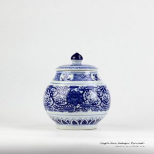 RZIY01_Artificial hand paint floral pattern blue and white chinaware sugar jar