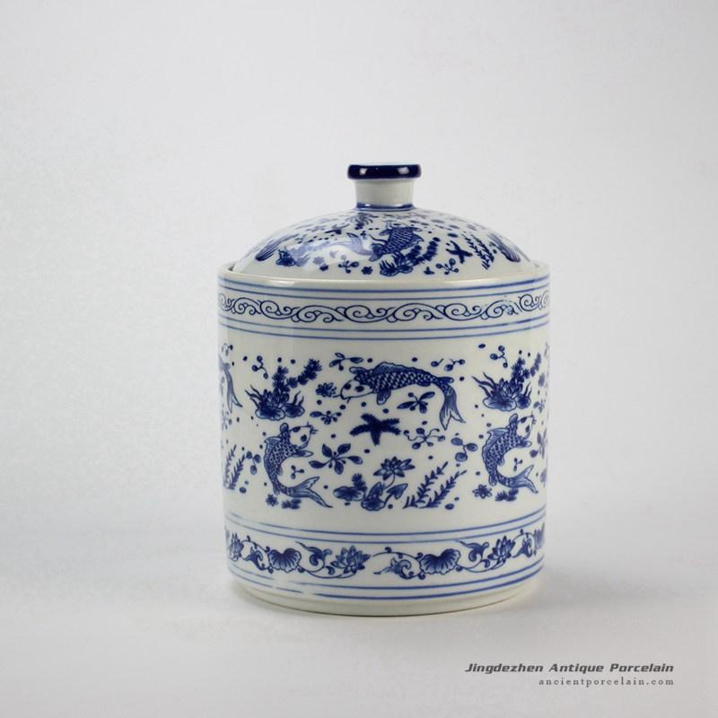 RZIY04_Under glaze blue fish floral pattern ceramic spice jar
