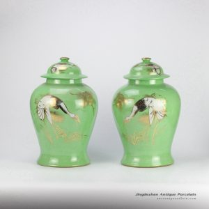 RZJD03 Green mint golden crane pattern ceramic pair jar