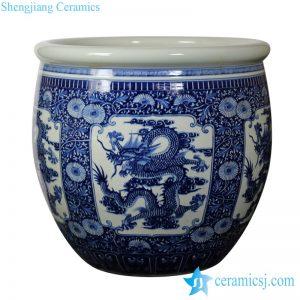RZJN01 Extra big ceramic planter with dragon drawing