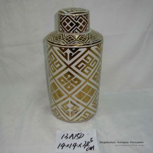 RZKA13A Golden gilded straight tube shape ceramic tin jar