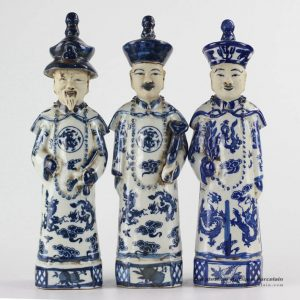 RZKC16 Medium size old style set of 3 blue and white emperors ceramic figurines