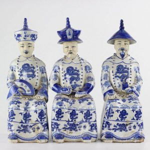 RZKC18 Blue and white sitting three Chinese emperors ceramic figurine