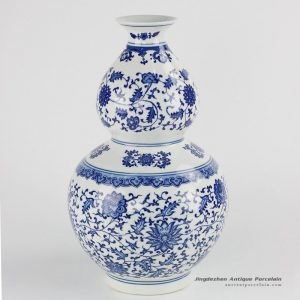 RZKE01 Cobalt blue color floral mark gourd shape porcelain vase