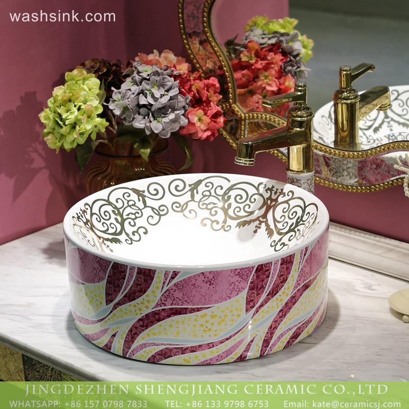 LT-2018-BL3I1326 Decorative Counter Top Colored Caremic Bathroom Sinks Wash Basin