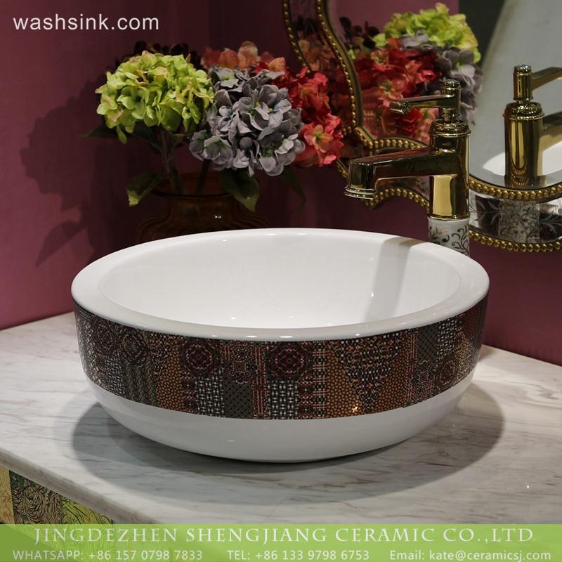 LT-2018-BL3I1374     Modern round above counter basin gold color bathroom Sink