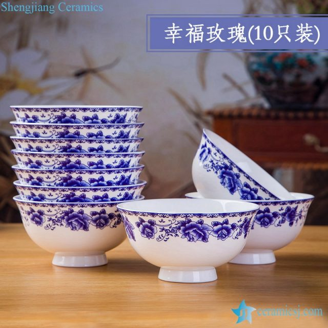 RZKX16-4.5cun-K Round Shape Style Custom Designed Ceramic Porcelain Bowl Blue And White Set of 10