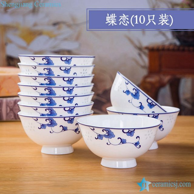 RZKX16-4.5cun-P Jingdezhen Set of 10 Blue And White Ceramic Porcelain Bowl