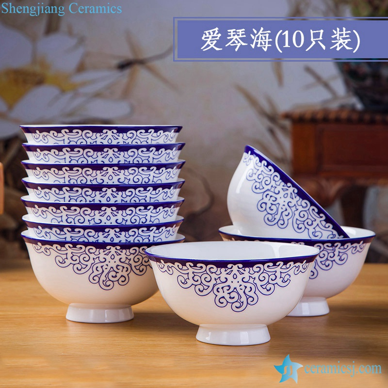 RZKX16-4.5cun-Q      Set of 10 Blue And White Ceramic Porcelain Bowl