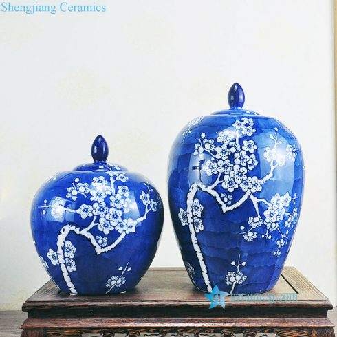 blue background floral ceramic jar