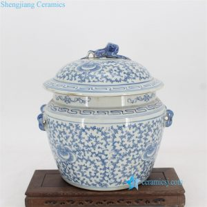 toad lid floral ceramic jar