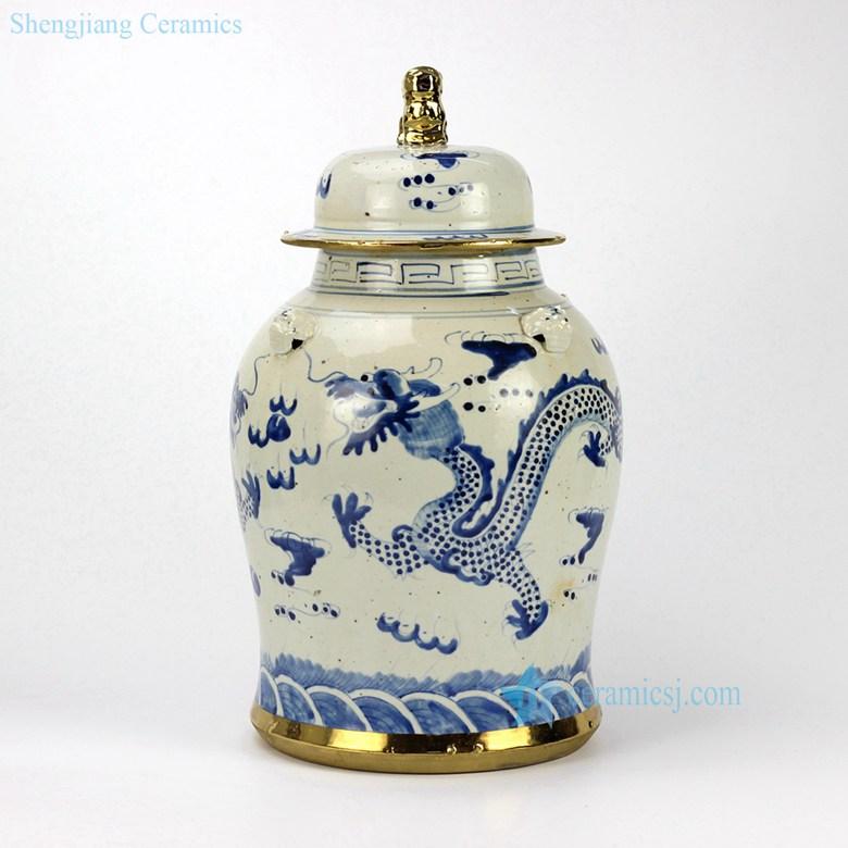 golden line ceramic dragon jar