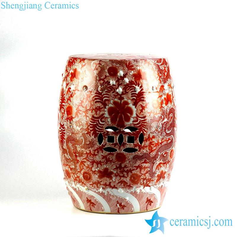 red and white ceramic stool
