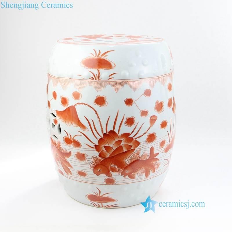 red lotus pond pattern ceramic stool