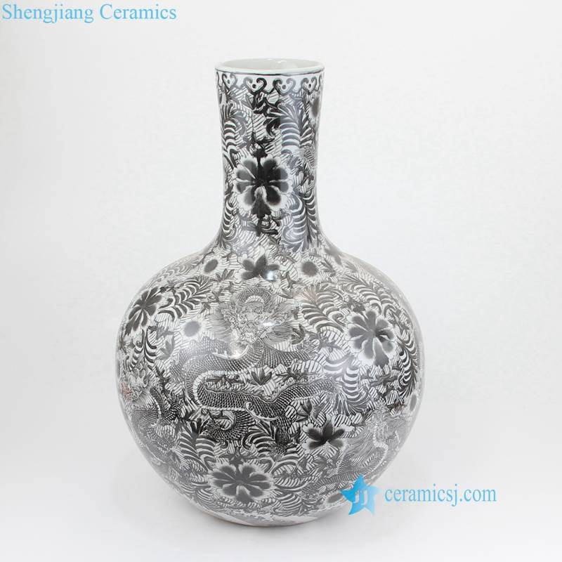 black floral bulbous vase