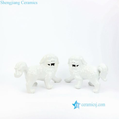 all white ceramic foo dog fugurine
