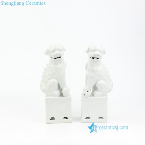White dog porcelain figurine