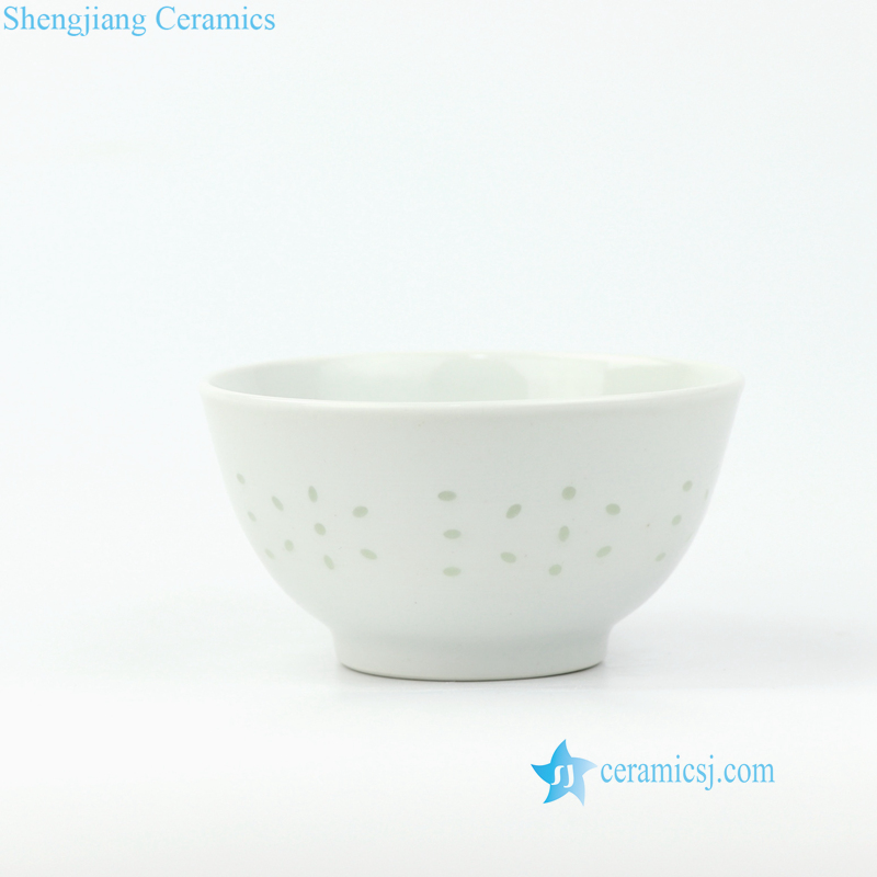 White porcelain bowl with rice hole