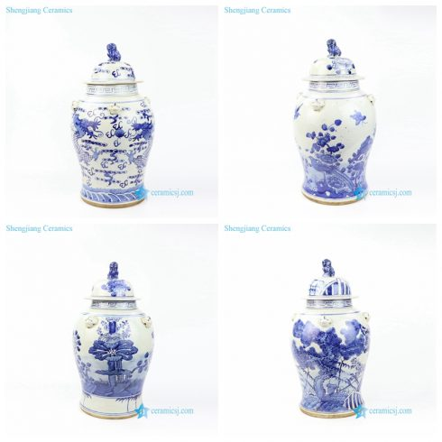 hand painted ceramic jar